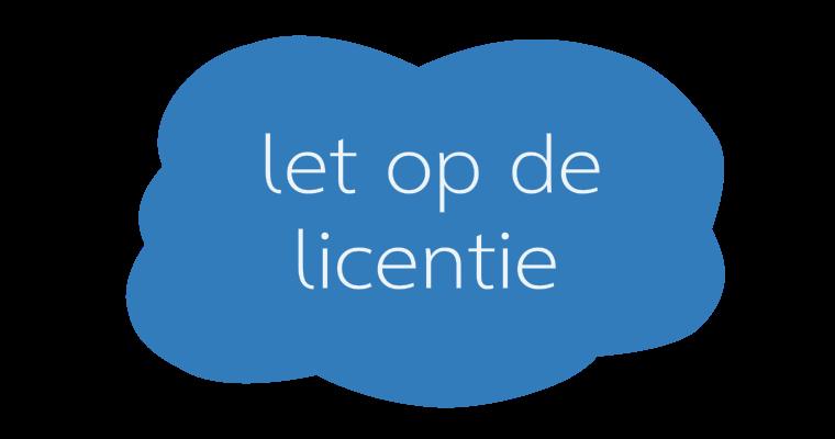 Let op de licentie van foto's