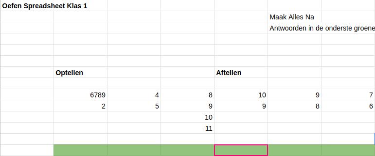 Excel Les 1: Oefenschema